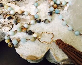Amazonite Stone and Leather Mala Necklace