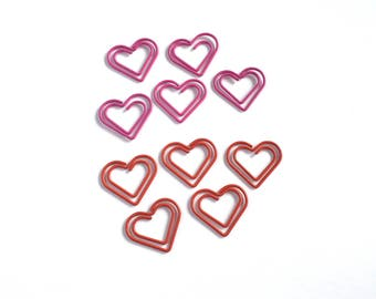 Set of 10 Red and Pink Heart Shaped Paper Clips