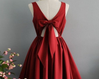 Christmas SALE Lolita Dress Sweet Lolita Backless Dress Blood Red Dress Dark Red Bridesmaid Dress Red Party Dress Summer Dress XS-Xl