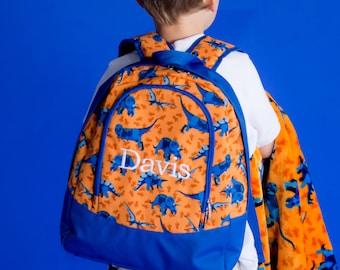 Monogrammed Dino Preschool back pack