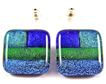 """Dichroic Glass Patchwork Earrings - Teal Cyan Green Blue Cobalt Bright Striped Patchwork Dichro - BIG 3/4"""" / 2cm - Large Post or Clip-On"""