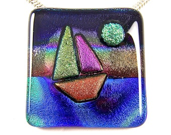 """SAILBOAT Sailing at Sunset - Dichroic Pendant AND Pin Combo - Blue Green Teal Tie Dye Copper Purple Pink Dichro Fused Glass - 1.5"""" Inch 4cm"""