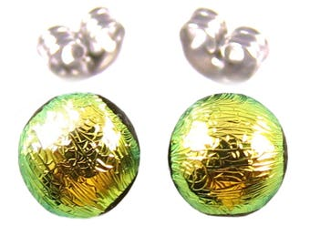 """Tiny Dichroic Stud Earrings - 1/4"""" - Gold Golden Yellow (24K Look) Fused Glass Lolly Pop Post Studs 8mm"""