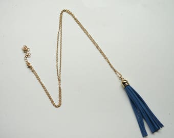 Blue Gold Tassel Pendant Long Necklace Faux Suede Leather