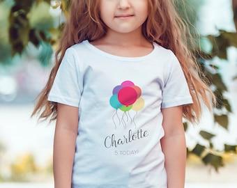 Birthday Balloons T-Shirt Personalised