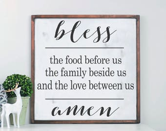 Bless The Food Before Us, Wood Sign, Farmhouse Decor, Farmhouse Kitchen Decor, Wood Framed Sign, Rustic Wood Sign, Cottage Style Decor