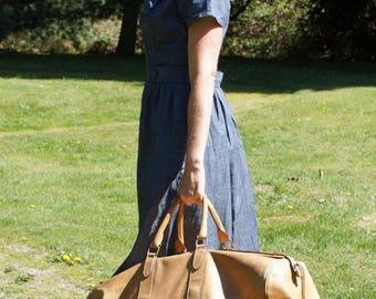 Spring SALE 70's Calvin Klein Italian Tan Leather Large Travel Bag