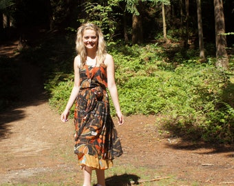 70's  Boho Gauze Cotton Sheer Layered Dress