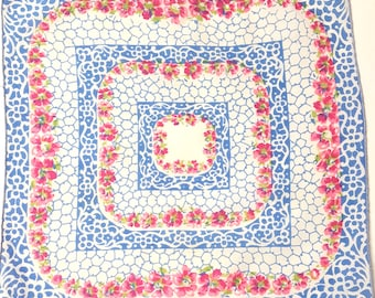 Abstract Handkerchief with Pink Flowers and Bllue Scrolling, Hanky for Mom, Mother's Day Gift