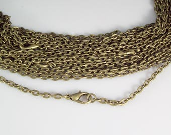 "200 24"" Antique Bronze Plated ROLO Chain Necklaces with Lobster Clasp 3mm"