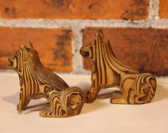 Vintage 50s 60s Mid-Century Japan Japanese CRYPTOMERIA Carved WOOD Wooden Wolf DOG Dogs Set of 2 Two