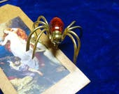 Antique Art deco Spider brooch faux amber Spider Brooch