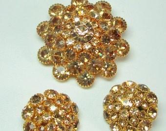 Sale Pre Holliday Judy Lee Signed Golden Rhinestone Brooch, Earring set, Stacked Rhinestones, Vintage Judy Lee