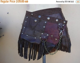 """20%OFF bohemian tribal gypsy fringed leather belt..33"""" to 41"""" waist or hips.."""