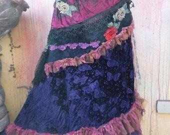 20%OFF bohemian skirt, bohemian skirt, shabby skirt, lace skirt, lace, wedding skirt, medium skirt, gothic skirt, mori girl skirt, velvet