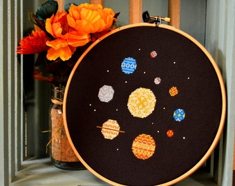 Modern Solar System Cross Stitch