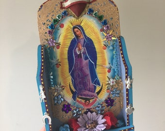 Upcycled Mexican art on wood shadowbox/ Mexican folk art / sacred heart / Virgin Mary Guadalupe /
