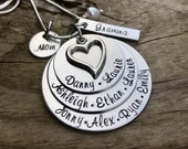 Hand Stamped Mother and Grandmother Stacked Custom Necklace - Unique Gift