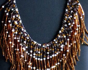 Beaded necklace,  Boho Necklace, Fringed Necklace, Statement Necklace, Tribal Necklace