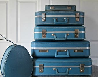 Tower of Vintage Suitcases in an Hombre of Blues - Excellent for Display - Assorted Stacking Lot of Beautiful Vintage Light Blue Luggage