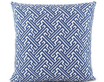 Trellis Cobalt Blue Pillow Cover, 18x18, 20x20, 22x22, 24x24, Eurosham, Square or Lumbar Pillow, Throw Pillow, Accent Pillow, Toss Pillow