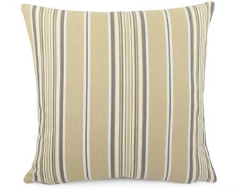 Beige Cream and Gray Stripe Pillow Cover, Custom Square, Eurosham or Lumbar Size, Made to Order Woven Jacquard Accent Pillow, Haddon Sand