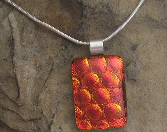 Red and Orange Necklace Dichroic Fused Glass Orange Dichroic Jewelry
