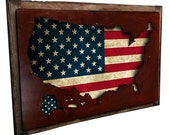 "USA flag map metal sign on barn wood frame, wall art, patriotic decor, 14"" x 20"""