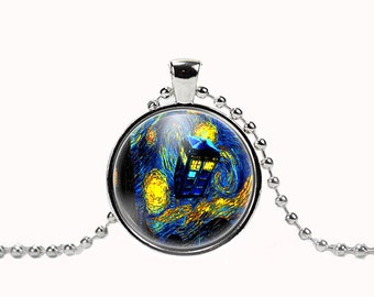 Starry Night Tardis Doctor Who Pendant with Necklace 6100P