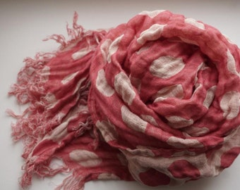 Linen Scarf with  big bubles--red and yelow colors-Natural-Pure Linen