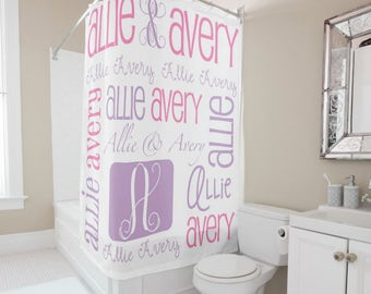 Personalized Shower Curtain, Tween Decor, Monogrammed Bath Curtain, Kids Shower  Curtain, Girls
