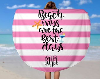 Round Beach Towel - Custom Roundie Beach Towel  - Soft Velour Cruise/ Beach Towel, Custom Camp Towel
