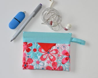 Cotton Cosmetic Pouch, Patchwork Quilted Snap Bag, Jewellery Pouch turquoise blue red