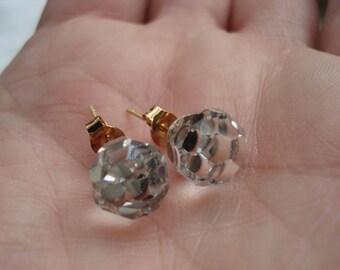 Vintage Swarovski Faceted Crystal Glass Globes Stud Pierced Earrings