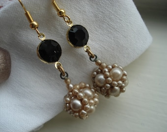 Vintage Art Deco Black Faceted Glass and Antique Pearl Disco Ball Dangle Earrings Shabby Chic