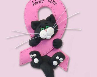 Breast CANCER-PINK RIBBON Survivor / Memorial Black & White Cat - Polymer Clay Personalized Christmas Ornament
