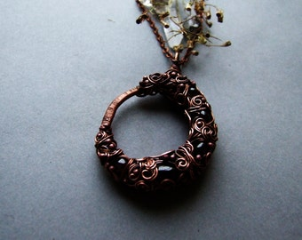 Pagan Moon Necklace, Crescent Moon Necklace, Rustic Copper Moon Necklace with Garnet