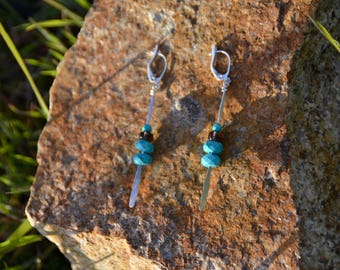 Hammered Turquoise and Glass Dangly Earrings