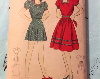 "Vintage Hollywood 898 Play Suit and Skirt Sewing Pattern 32"" Bust 1940s"