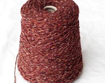 Wool Silk Yarn, Forsell Touch of Silk, Aran Weight, Destash, Burgundy, Over Pound