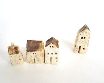 English Countryside Hand Sculpted Ceramic Miniature Houses, Set of Four