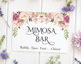Mimosa Bar Sign, Bridal Shower Decoration, Mother's Day Decor, Brunch Champagne Bar Signage - Size 5 x 7, Printed Sign, BOHOB