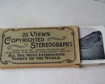 Antique Stereograph Card Set 25 Views Original Box Germany Trip Down the Rhine Victorian Era Stereoview Cards Stereoscope ca. 1900