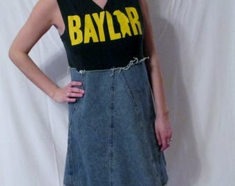 Baylor Bears Game Day Dress Sic Em Bears Cute denim jeans dress March Madness ready NCAA Basketball