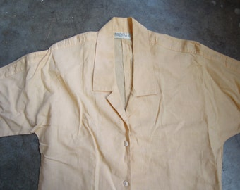Vtg Margarine Yellow Linen Cotton Blouse Size Medium Large Sporty Striped Sleeves 1980s 80s