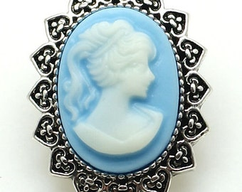 Blue Cameo Snap Charm Fits 18-20mm Ginger Snaps, Noosa, Magnolia & Vine, Others Free Shipping