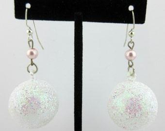 Iridescent White Glitter Vintage,New Christmas Ornament Earrings