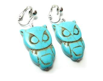 Turquoise Owl Dangle Clip On Earrings - Non-Pierced Ears