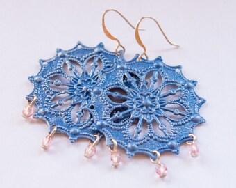 Blue Star Earrings, Chandelier, Pink and Blue Earrings, Hand Painted, Filigree Earrings, Gift for Her