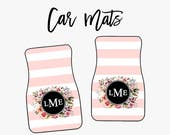 Car Floor Mats Personalized Monogram Stripes and Watercolor Flowers One